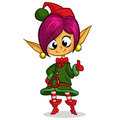 Christmas Elf Braid Girl. Illustration of christmas greeting card with cute elf girl Royalty Free Stock Photo