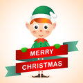 Christmas elf card with Stock Photo