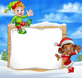 Christmas Elf Cartoon Characters Snow Sign Royalty Free Stock Photo