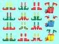 Christmas elf feet. Shoes for elves foot, Santa Claus helpers dwarf leg in pants. Xmas present and gifts isolated vector Royalty Free Stock Photo