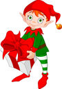 Christmas Elf with Gift Royalty Free Stock Photo