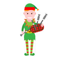 Christmas elf holds bagpipes illustration of сhristmas on white background Stock Photo
