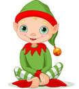 Christmas elf illustration of sitting cute Royalty Free Stock Photos