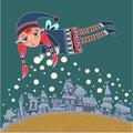 Christmas elf making a snow Royalty Free Stock Photo