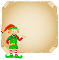 Christmas elf and old parchment vector illustration of a Stock Photo