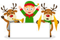Christmas Elf & Reindeer with Banner