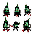Christmas Elf Sitting In A Chair Silhouette Stock Photo
