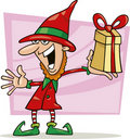 Christmas elf with special gift Royalty Free Stock Photo