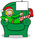 Christmas elf on strike vector illustration of a at Royalty Free Stock Photos