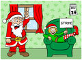 Christmas elf on strike vector illustration of a at Royalty Free Stock Image