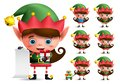 Christmas elf vector character set. Girl elves with green costume holding gifts