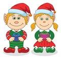Christmas elves, boy and girl Royalty Free Stock Photo