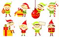 stock image of  Christmas elves. Collection of cute Santa`s helpers holding gifts. Cartoon characters for new Year greeting design