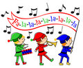 Christmas Elves Musical Parade/eps Stock Photography