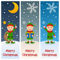Christmas Elves Vertical Banners Royalty Free Stock Photo