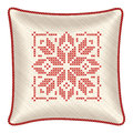 Christmas embroidered throw pillow, light yellow Royalty Free Stock Photo