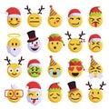 Christmas emoji funny and cute holiday set