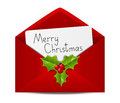 Christmas envelope with paper card Stock Images