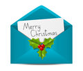 Christmas envelope with paper card Royalty Free Stock Photo