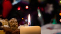 Christmas eve atmosphere concept warm and peace with candle in the front Royalty Free Stock Images