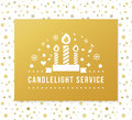 Christmas Eve Candlelight Service Invitation. Golden Foil and Dots Seamless Pattern Background