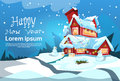 Christmas Eve Holiday House Winter Snow, Snowman Gift New Year Greeting Card Royalty Free Stock Photo
