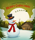 Christmas eve with snowman background illustration of a cartoon winter on holidays santa claus character driving sleigh and his Royalty Free Stock Photography