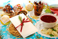 Christmas eve wafer and traditional dishes Stock Image