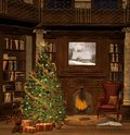 Christmas evening beautiful room with tree Royalty Free Stock Photo