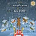 Christmas evening landscape vector illustration. Royalty Free Stock Photo