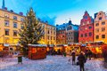 Christmas fair in stockholm sweden beautiful snowy winter scenery of holiday at the big square stortorget the old town gamla stan Royalty Free Stock Photos