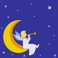 Christmas fairy angel with flute on moon Royalty Free Stock Photos