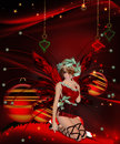 Christmas Fairy on Christmas Background Royalty Free Stock Photography