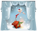 Christmas fairy elegant vector background with curtains decorations red gift box and Stock Photos