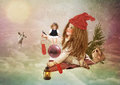 Christmas fairy tale the little girl in run up to the miracle awaits Royalty Free Stock Photos
