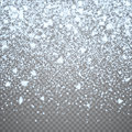 Christmas falling snow overlay on transparent background. Snowflakes storm layer. Snow pattern for design Royalty Free Stock Photo