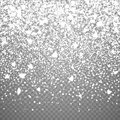 Christmas falling snow overlay on transparent background. Snowflakes storm layer. Snow pattern for design