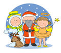 Christmas fancy dress hand drawn picture of children dressing up for illustrated in a loose style vector eps available Royalty Free Stock Image
