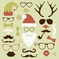 Christmas fashion silhouette set hipster style illustration icons Royalty Free Stock Photography