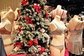 Christmas background decorations in a lingerie store