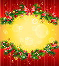 Christmas festive background with fir tree and balls Royalty Free Stock Photography