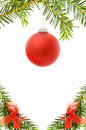 Christmas festive border with red bauble Royalty Free Stock Photo