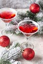 Christmas festive cocktail red martini Royalty Free Stock Photo