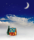Christmas festive light in house under sky blue Stock Photo