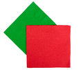 Christmas festive napkins, serviettes - red, green Royalty Free Stock Photo