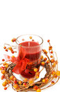 Christmas festive red candle Stock Images