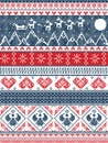 Christmas, festive winter seamless pattern in cross stitch with Xmas trees, snowflakes, Reindeer,mountains, moon, Sleigh, angels