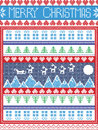 Christmas  festive winter seamless pattern in cross stitch with Xmas trees, snowflakes, Reindeer, Mountains,  Sleigh, moon, sky Royalty Free Stock Photo