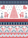 Christmas and festive winter seamless pattern in cross stitch with Xmas trees, snowflakes, Reindeer, stars, hearts in red, blue