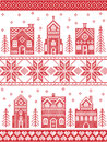 Christmas and festive winter village pattern in cross stitch style with gingerbread house, church, little town buildings, trees